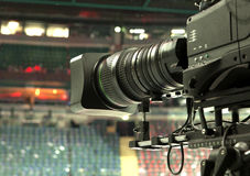 TV broadcast hockey, TV camera, Royalty Free Stock Image