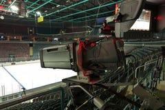 TV broadcast hockey, TV camera,. Professional camcorder to broadcast hockey, TV camera Royalty Free Stock Images