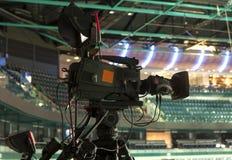 TV broadcast hockey, TV camera,. Professional camcorder to broadcast hockey, TV camera Stock Photos