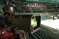 TV broadcast hockey, TV camera, Stock Photo