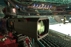 TV broadcast hockey, TV camera,. Professional camcorder to broadcast hockey, TV camera Stock Photo