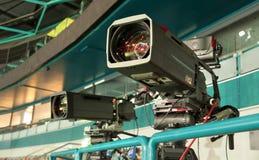 TV broadcast hockey, TV camera,. Professional camcorder to broadcast hockey, TV camera Royalty Free Stock Photo