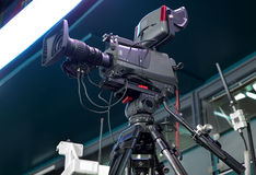 TV broadcast hockey, TV camera, Stock Image