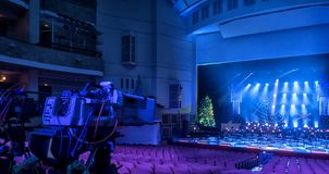 Tv broadcast from the theater. TV camera in a concert hall. stock image