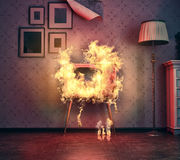 TV burning. Retro TV burning in old room. 3d rendering Royalty Free Stock Image