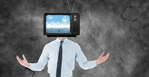 TV on businessman`s head Royalty Free Stock Image