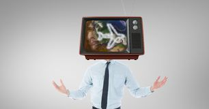 TV on businessman`s head with travel concept Stock Photography
