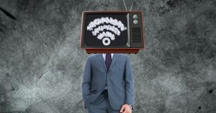 TV on businessman`s head with WiFi sign. Digital composite of TV on businessman`s head with WiFi sign Royalty Free Stock Photos
