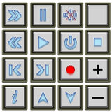 Tv buttons. The 3D buttons for website Royalty Free Stock Images