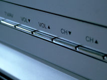 TV buttons. Close up of vol up buttons royalty free stock image