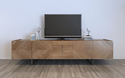 TV cabinet with plasma and decorations. Brown ikea cabinet with silver decorations and frame on it. 3D render Royalty Free Stock Photo
