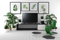 TV on the cabinet in tropical living room on white wall background,3d rendering. Mock up TV on the cabinet in tropical living room on white wall background,3d royalty free illustration