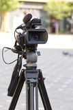 TV camera. Outdoor on tripod Stock Photography
