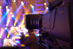 Tv camera. In a concert hall Stock Photo