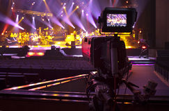 Tv camera. In a concert hall Royalty Free Stock Image