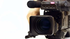 TV camera. Beta-cam camcorder lens close-up in zoom processing and switched shooting,video clip stock video
