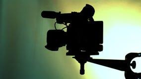 TV camera. Close-up dvcam camcorder light on stock video
