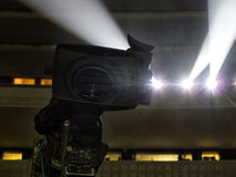 Tv camera in a concert hal. Professional digital video camera. Stock Photos
