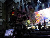 Tv camera in a concert hal. Professional digital video camera. Stock Photo