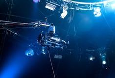 TV camera on crane. On concert. TV camera Royalty Free Stock Photo