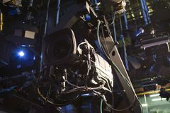 TV camera on crane on concert. TV camera stock photography