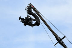 Tv camera on a crane Stock Photos