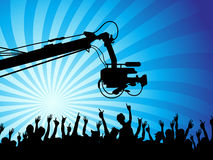 Tv camera with crowds Royalty Free Stock Photos