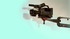 TV camera. Dv-cam camcorder on crane in studio stock video