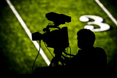 TV camera on football field Royalty Free Stock Photos