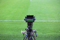 TV camera on football field Royalty Free Stock Photography