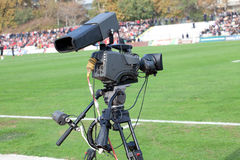 TV Camera on the football mach Royalty Free Stock Photo