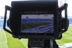 Tv camera in the football Stock Photo