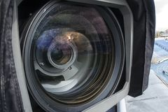 Tv camera in the football Royalty Free Stock Photos