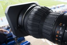 Tv camera in the football Stock Image