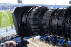 Tv camera in the football Royalty Free Stock Image