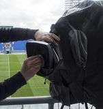 Tv camera in the football Stock Photography