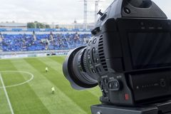 Tv camera in the football Stock Photo