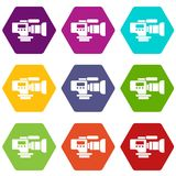 Tv camera icons set 9 vector. Tv camera icons 9 set coloful isolated on white for web Royalty Free Stock Photos