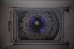 Tv camera lense close up Royalty Free Stock Photography