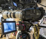 Tv camera in live show pavilion. Professional digital video camera. cinematography in the pavilion stock photography