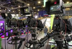 Tv camera in live show pavilion. Professional digital video camera. cinematography in the pavilion stock image