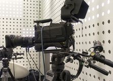 Tv camera in live show pavilion royalty free stock photography