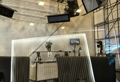 Tv camera in live show pavilion royalty free stock photos