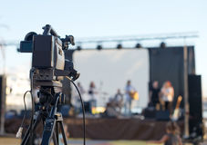 TV camera. TV camera is ready to shoot the concert Royalty Free Stock Image