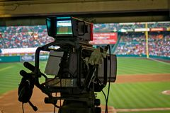 TV Camera. Broadcasting the Game stock photography