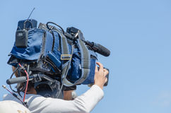 Tv cameraman Stock Photo