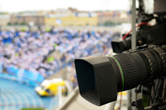 TV cameras at the stadium. Royalty Free Stock Images