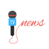 Tv channel microphone with news lettering Royalty Free Stock Image