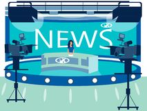 TV channel news studio interior. Reporter in the workplace. In minimalist style Cartoon flat Vector. Illustration stock illustration