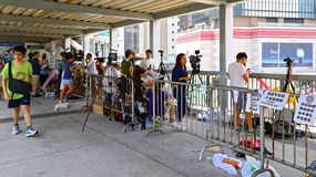 Tv channel reporters at admiralty, hong kong Royalty Free Stock Images